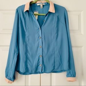 NWT Forever 21 Long Sleeve Blouse Blue & Pink Sz M